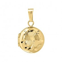 14K Yellow Gold engraved Round Child's Locket
