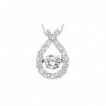 14K White Gold 2ct Diamond Rhythm Of Love Pendant ( 1ct center stone)