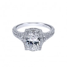 Gabriel & Co 18k White Gold Halo Diamond Engagement Ring
