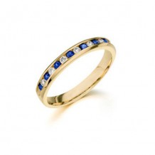 Camelot 14k White Gold Diamond and Sapphire Vivid Wedding Band