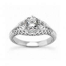 14k White Gold Diamond Semi-Mount Antique Engagement Ring