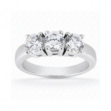 14k White Gold Diamond Semi-Mount 3 Stone Engagement Ring
