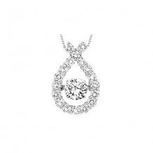 14K White Gold 1ct Diamond Rhythm Of Love Pendant ( 1/2ct center stone)