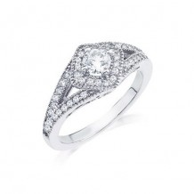14K White Gold 0.38ct 4 Prong Round Diamond And A 0.38ct Round Center Diamond Engagement Ring