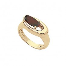 14K Yellow Gold 10X5 Oval Garnet Ring