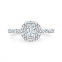Shah Luxury 18k White Gold  Diamond Promezza Engagement Ring With Round Center