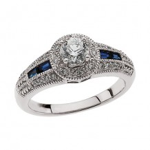 Stuller 14k White Gold Blue Sapphire and Diamond Engagement Ring