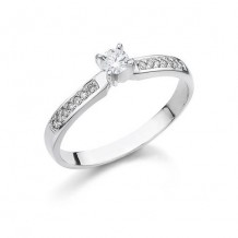 14K White Gold 0.07ct Diamond Melee And 0.19ct Round Center Diamond Engagement Ring