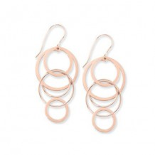 Carla Cascading Circles Rose Sterling Silver Drop Earrings
