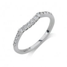 14K White Gold 0.25ct Diamond Contour Women's Wedding Band