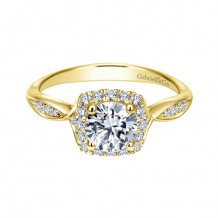 Gabriel & Co 14k Yellow Gold Halo Diamond Engagement Ring