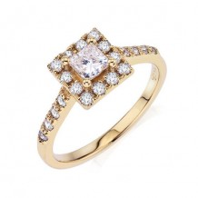 14K Yellow Gold 0.36ct Diamond Melee And A 0.38ct Princess Center Diamond Engagement Ring
