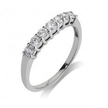 14K White Gold 0.5ct 7 Stone Diamond Contour Women's Wedding Band