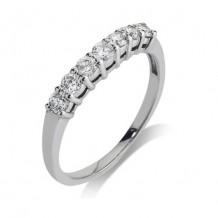 14K White Gold 0.5ct 7 Stone Diamond Contour Women's Wedding Band