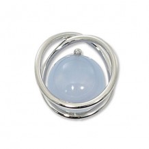Carla Sterling Silver Continuous Circle Blue Chalcedony Pendant