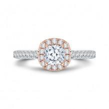 Shah Luxury 18k Rose Gold  Diamond Promezza Engagement Ring with Emerald Center