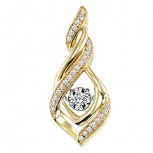 10K Two Tone Gold 1/7ct Diamond Rhythm Of Love Pendant