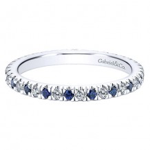 Gabriel & Co 14k White Gold 0.21ct Diamond and 0.23ct Sapphire Eternity Band