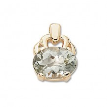 14K Yellow Gold Oval Praseolite Pendant