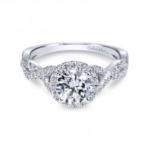Gabriel & Co. 14k White Gold Contemporary Criss Cross Engagement Ring