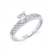 10K White Gold 0.21ct Diamond Melee And 0.20ct Round Center Diamond Engagement Ring