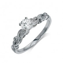 14K White Gold 0.06ct Diamond Melee And A 0.38ct Round Center Diamond Engagement Ring