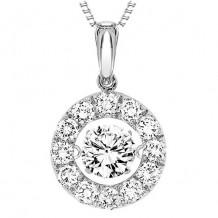 14K White Gold 2ct Diamond Rhythm Of Love Pendant ( 1ct center stone)