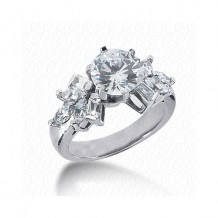 14k White Gold Diamond Semi-Mount Fancy Engagement Ring