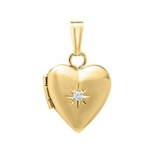 14K Yellow Gold .01ct Diamond Heart Child's Locket