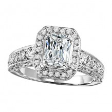 14k White Gold 1 1/4ct Diamond Engagement Ring with 1ct  Emerald-cut Center Stone
