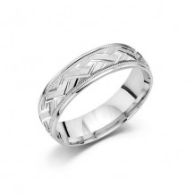 10K White Gold Comfort Feel Engraved Men's Wedding Band