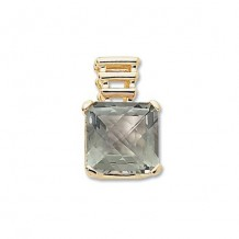 14K Yellow Gold 14X14 Square Praseolite Pendant