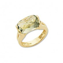 14K Yellow Gold Cushion Praseolite Ring