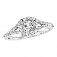 14k White Gold 3/8ct Diamond Engagement Ring with 1/3ct Center Stone