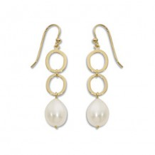 Carla 14k Yellow Gold Open Oval Links Pearl Earrings
