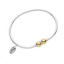 Sterling Silver 14K Gold Double BeadCuff Bracelet