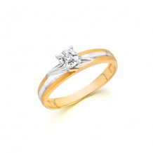10K Two-Tone Yellow Gold 0.04ct Round Center Diamond Engagement Ring