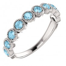 14k White Gold Stuller Aquamarine Beaded Stackable Ring
