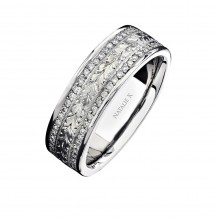 14k White Gold Hand Engraved Diamond Men's Band