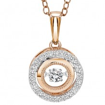 14K Two Tone Gold 1/7ct Diamond Rhythm Of Love Pendant