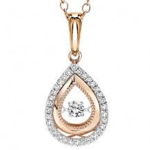 14K Two Tone Gold 1/7ct Diamond Rythm Of Love Pendant