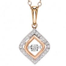 14K Two Tone Gold 1/7ct Diamond Rythm Of Love Pendant
