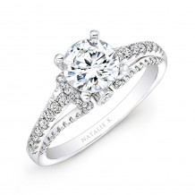 18k White Gold Prong and Bezel Round Diamond Engagement Ring