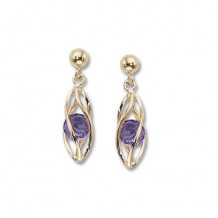 14K Yellow Gold Caged Amethyst Drop earrings