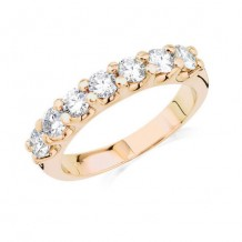 14K Yellow Gold 1ct 7 Stone Shared Prong Die-Struck Diamond Weeding Band