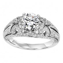 14k White Gold 3/8ct Diamond Engagement Ring with 1ct Center Stone