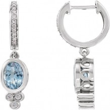 Stuller 14k White Gold Aquamarine and 1/6ct Diamond Earrings
