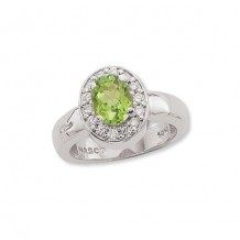 Stainless Steel Diamond and Perdiot Ring