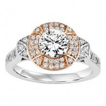 14k Two Tone Gold 1/5ct Diamond  Semi Mount Engagement Ring