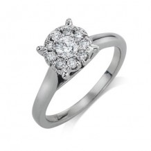 14K White Gold 0.26ct Diamond Melee And Round Center Diamond Engagement Ring